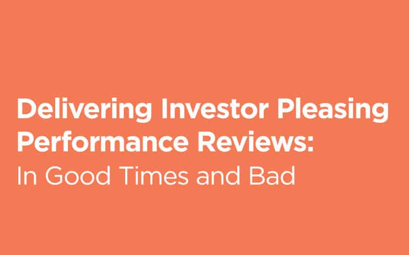 Delivering Investor Pleasing Performance Reviews